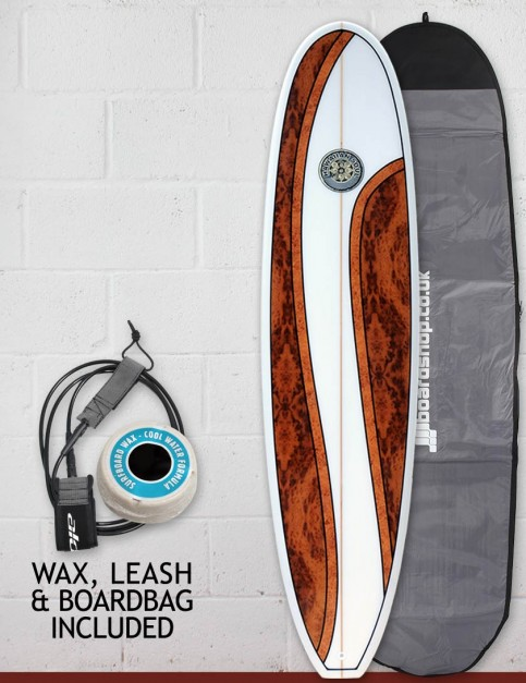 Hawaiian Soul Mini Mal surfboard package 7ft 4 - Walnut