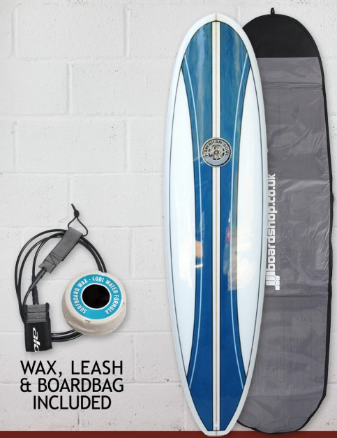 Hawaiian Soul Mini Mal surfboard package 7ft 2 - Blue Stripe