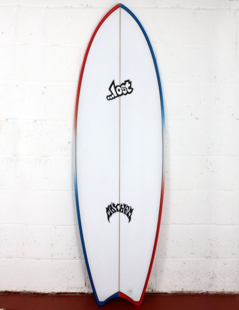 Lost Puddle Fish surfboard 5ft 7 Futures - Red/White/Blue