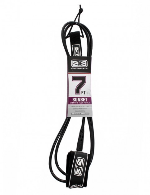 Ocean & Earth Sunset Diamond Flex Mould Surfboard Leash 7ft - Black