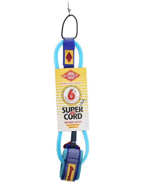 Ocean & Earth Heritage Series Comp Surfboard Leash 6ft - Blue