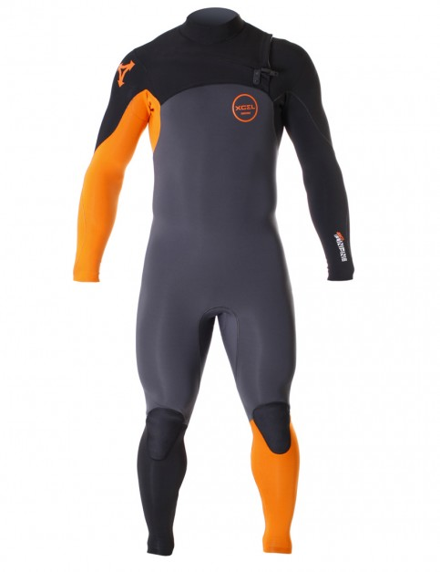 Xcel Infiniti Comp Chest Zip 3/2mm wetsuit - Graphite/Burnt Orange