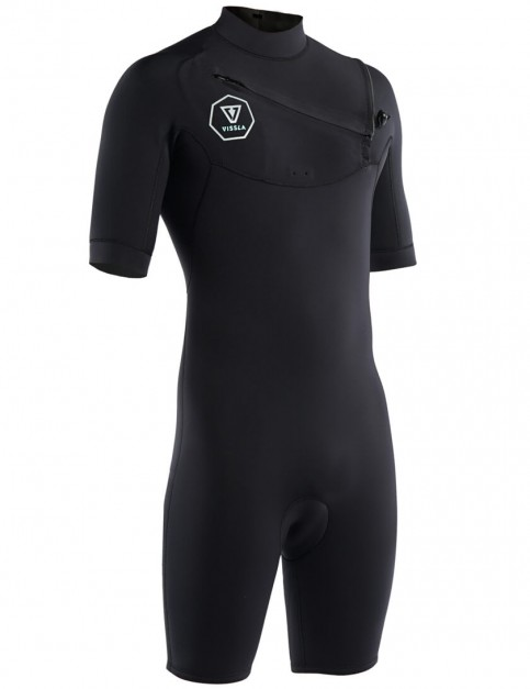 Vissla 7 Seas Chest Zip 2/2mm Shorty Wetsuit - Black/Silver