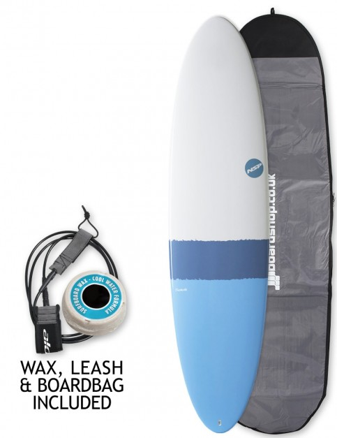 NSP Elements Funboard surfboard package 7ft 2 - Sky Blue