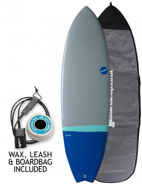 NSP Elements Fish surfboard package 6ft 4 - Grey