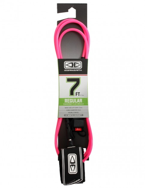 Ocean & Earth Regular Diamond Flex Mould Surfboard Leash 7ft - Pink