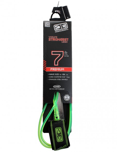 Ocean & Earth Premium One Piece Surfboard Leash 7ft - Lime