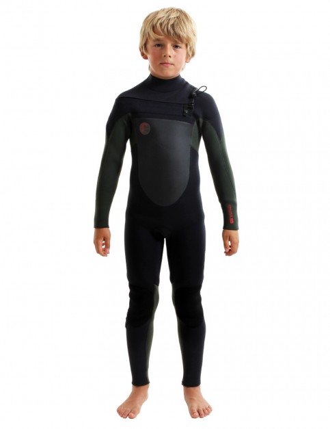 O'Neill Boys O'Riginal Chest Zip 5/4mm wetsuit 2019 - Black/Dark Olive/Red