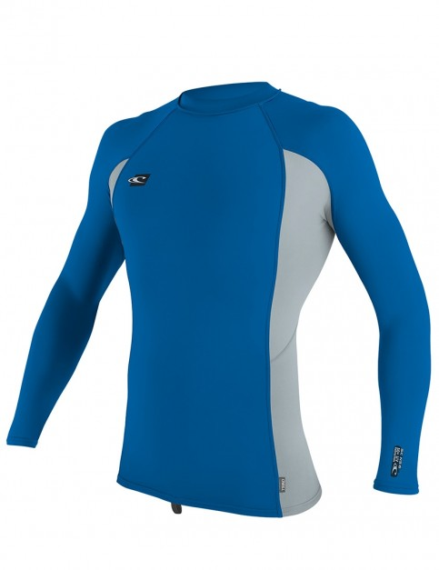 O'Neill Premium Skins Long Sleeve Rash Vest - Ocean/Cool Grey
