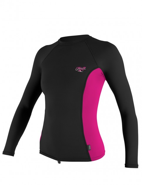 O'Neill Ladies Premium Skins Long Sleeve Rash Vest - Black/Berry/Black