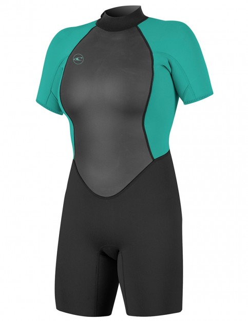 O Neill Ladies Reactor II Shorty 2mm wetsuit 2018 - Black Light Aqua 82bca5561