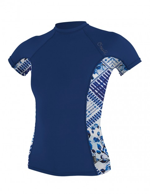O'Neill Ladies Side Print Short Sleeve Rash Vest - Navy/Indigo Patch