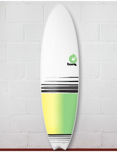 Torq Mod Fish surfboard 6ft 10 - White/Yellow/Green Fade