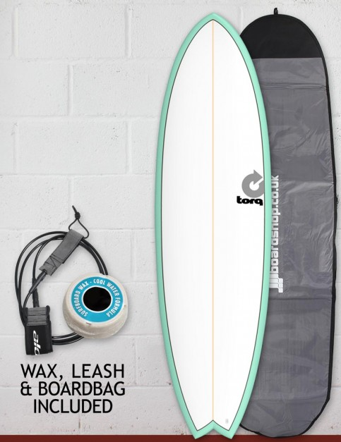 Torq Mod Fish surfboard package 6ft 3 - Sea Green/White/Pinline