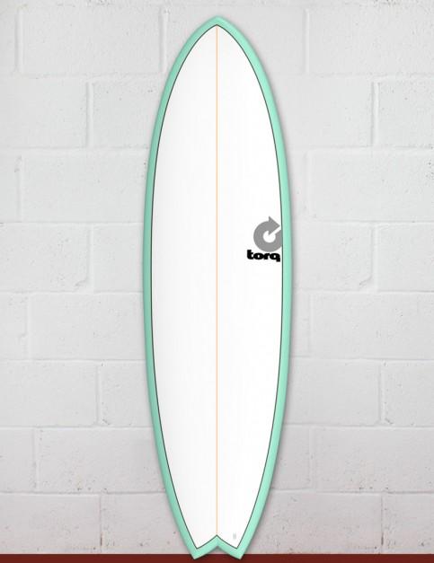 Torq Mod Fish surfboard 6ft 3 - Sea Green/White/Pinline