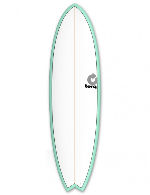 Torq Mod Fish surfboard 6ft 3 - Sea Green/White/Pinline