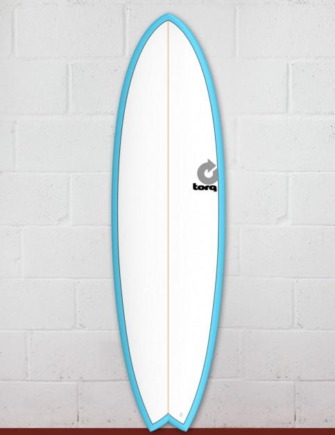 Torq Mod Fish surfboard 6ft 6 - Blue/White/Pinline