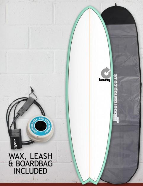 Torq Mod Fish surfboard package 7ft 2 - Sea Green/White/Pinline