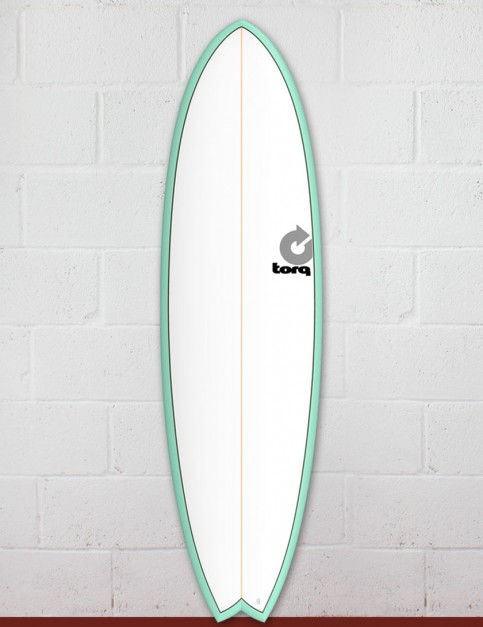Torq Mod Fish surfboard 7ft 2 - Sea Green/White/Pinline
