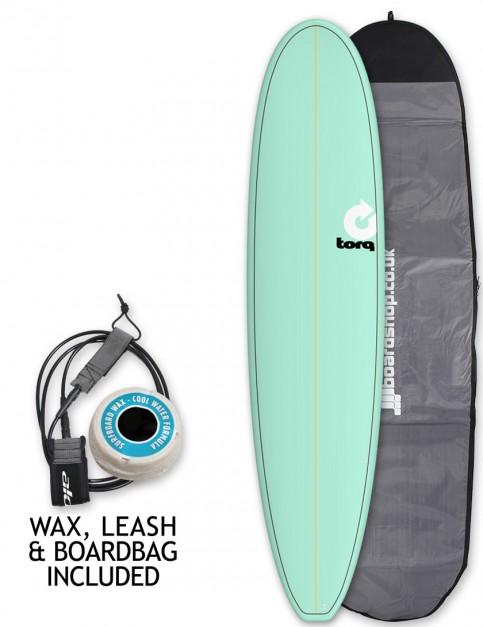 Torq Mini Long surfboard package 8ft 0 - Sea Green/Pinline