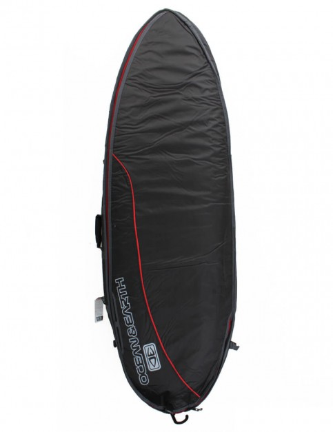 Ocean & Earth Fish Wide Double Surfboard Bag 10mm 6ft 0 - Black/Red