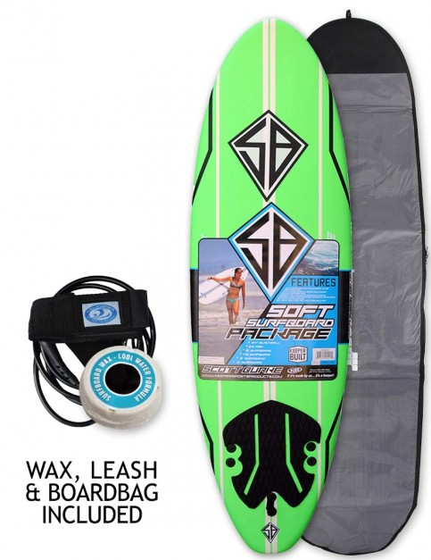 California Board Company Scott Burke Seventy Two Soft Surfboard Package 6ft 0 - Green