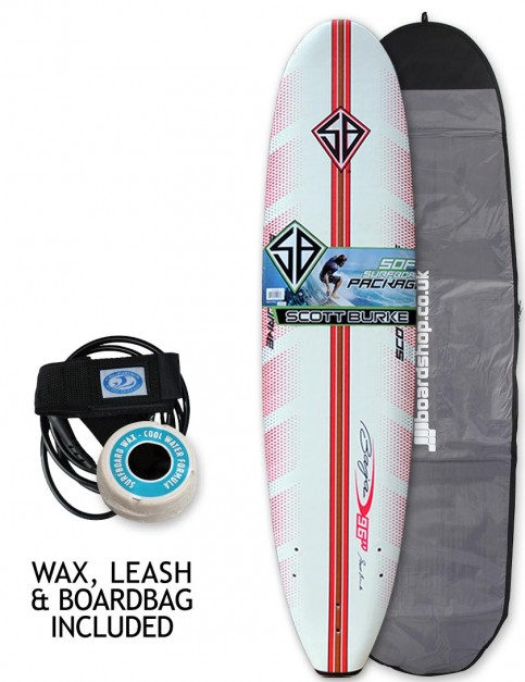 California Board Company Scott Burke Ninety Six Soft Surfboard Package 8ft 0 - Red