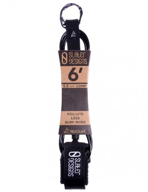 Slater Designs x Revolwe Comp surfboard leash 6ft 0 - Black