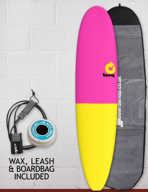 Torq Mini Long surfboard package 8ft 0 - Raspberry/Yellow