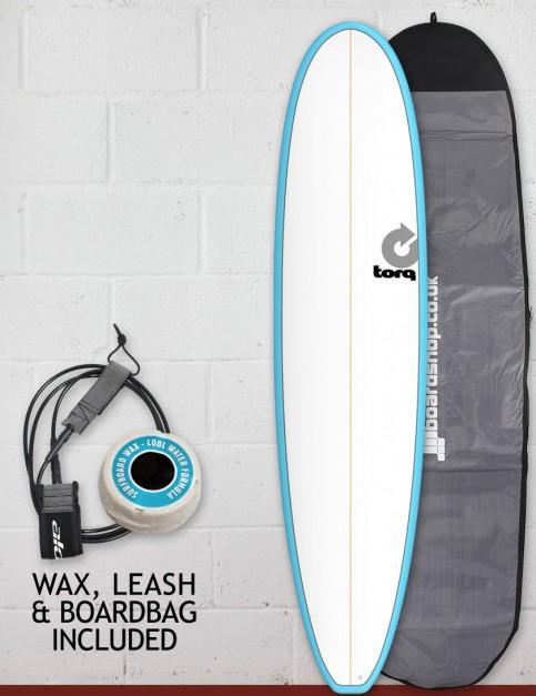 Torq Mini Long surfboard package 8ft 0 - Blue/White/Pinline