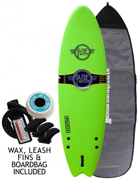 Surfworx Banshee Hybrid soft surfboard 6ft 6 package - Apple Green