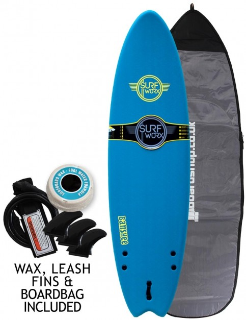 Surfworx Banshee Hybrid soft surfboard 6ft 0 package - Blue