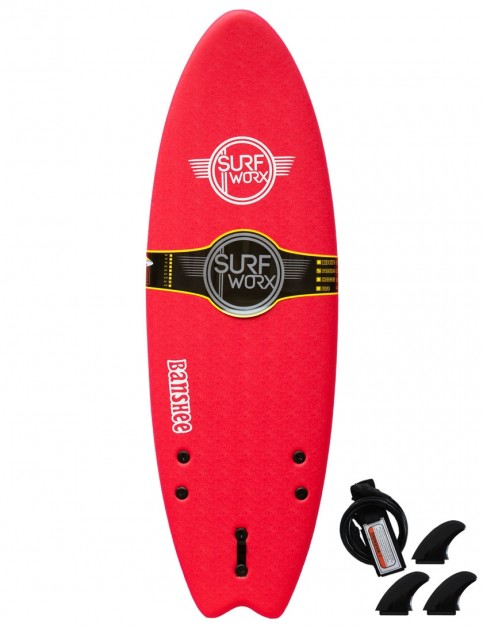Surfworx Banshee Hybrid kids soft surfboard 5ft 6 - Red