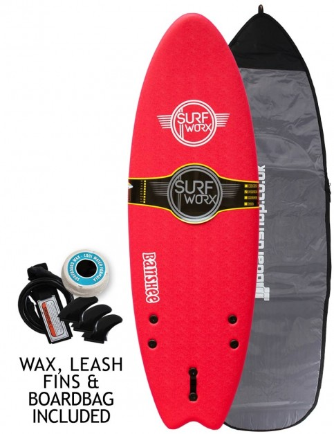 Surfworx Banshee Hybrid soft surfboard 5ft 6 package - Red