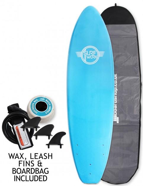 Surfworx Base Mini Mal soft surfboard package 6ft 0 - Azure Blue