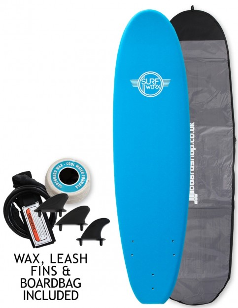 Surfworx Base Mini Mal soft surfboard package 7ft 6 - Azure Blue
