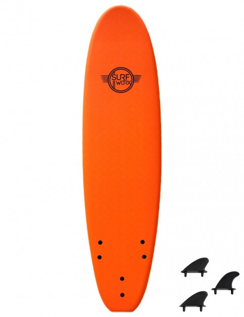 Surfworx Base Mini Mal soft surfboard 7ft 6 - Orange