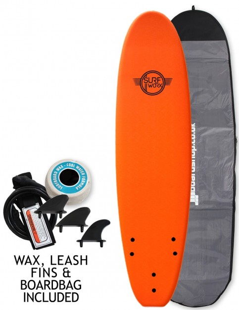 Surfworx Base Mini Mal soft surfboard package 7ft 6 - Orange