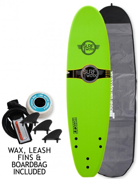 Surfworx Hellcat Mini Mal soft surfboard package 7ft 0 - Apple Green
