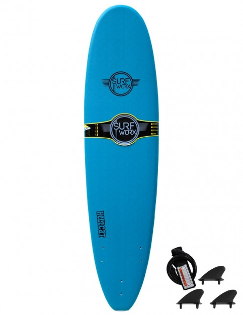 Surfworx Hellcat Mini Mal soft surfboard 7ft 6 - Steel Blue