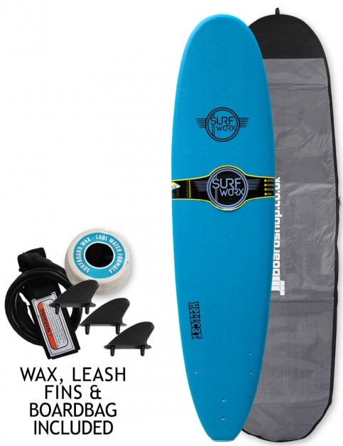 Surfworx Hellcat Mini Mal soft surfboard package 7ft 6 - Steel Blue