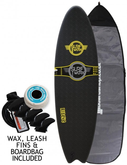 Surfworx Ribeye Hybrid soft surfboard package 5ft 10 - Black