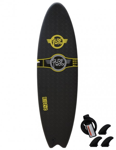 Surfworx Ribeye Hybrid soft surfboard 6ft 6 - Black