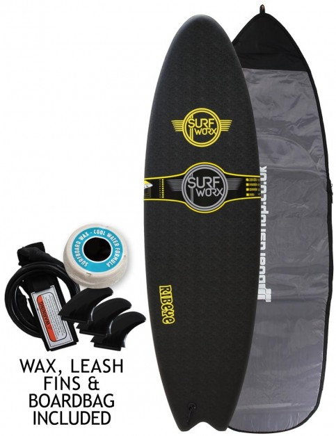 Surfworx Ribeye Hybrid soft surfboard package 6ft 6 - Black