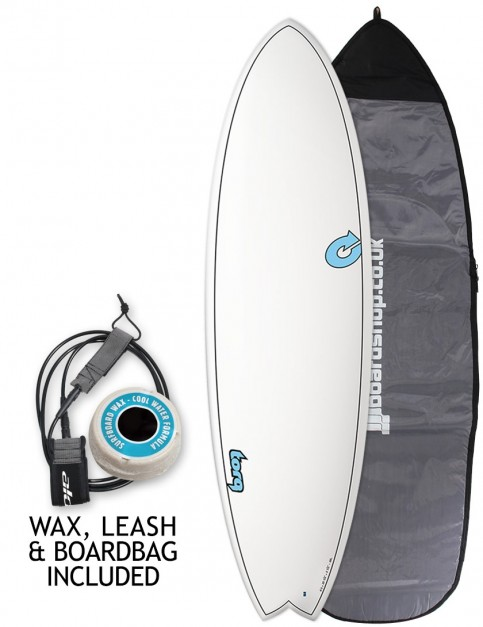 Torq Mod Fish surfboard package 6ft 6 - White/Carbon Strip
