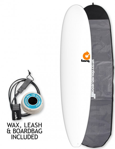 Torq Longboard surfboard package 8ft 6 - White