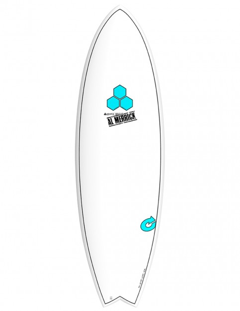 Torq X-Lite Channel Islands Pod Mod surfboard 5ft 10 Futures - White/Pinline