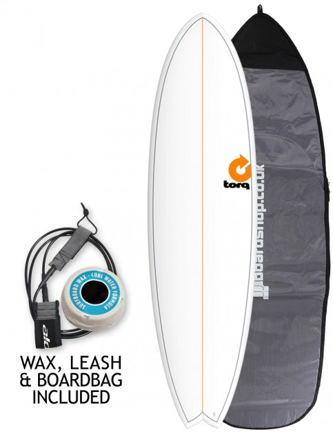 Torq Mod Fish surfboard package 7ft 2 - White/Pinline