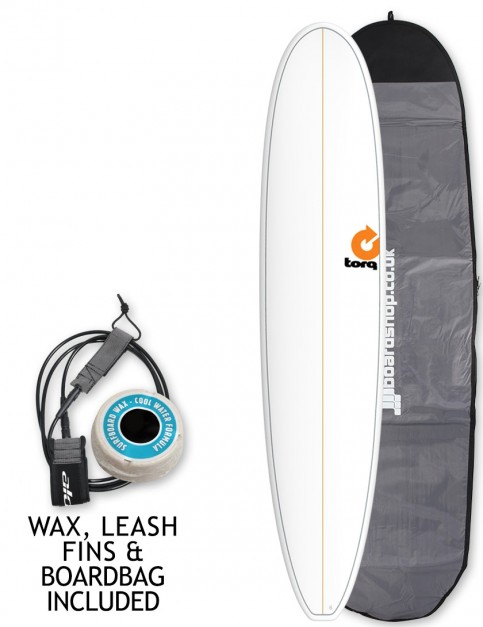 Torq Longboard Surfboard 9ft 0 package - White/Pinline
