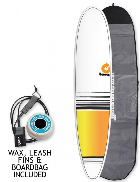 Torq Longboard surfboard 8ft 6 package - White/Yellow/Orange